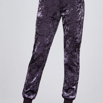 Land Of Rose's Waist contrast band w/drawstring ice velvet pants