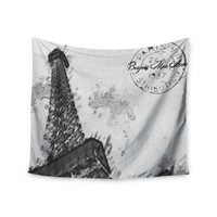 "Oriana Cordero ""Bonjour Mon Amour"" Grey Eiffel Wall Tapestry"
