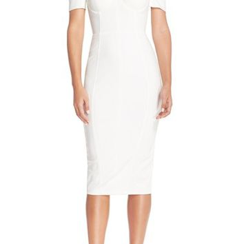 Women's MishaCollection 'Chloe' Off the Shoulder Stretch Midi Dress,
