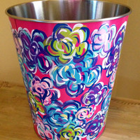Lilly Pulitzer inspired hand painted small trash can