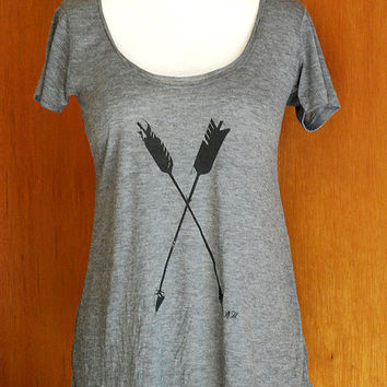 Arrows Short Sleeve Drape Top- tshirt- tunic- screen printed arrow- shirt