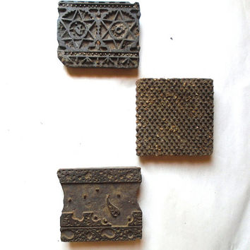 Antique Vintage Large Wood Stamps Set of 3 Wall Sculpture Art Hand Carved Old Indian Print Block --LOT 5