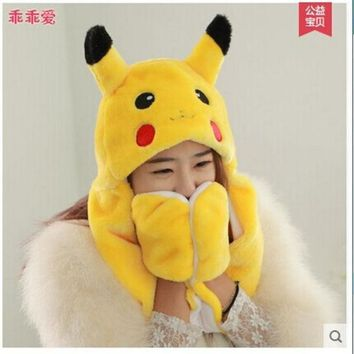 Lovely Pokemon Pikachu Plush Hat With Gloves Pikachu Plush Anime Cosplay Long Earflap Warm Hat Toy Gift T6632