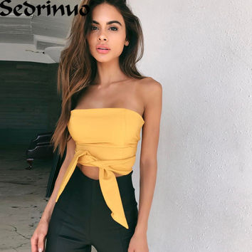 New Fashion Sashes T-shirt 2017 Sexy Off Shoulder Party Crop Top Elastic Summer Beach Tube Women Tops Lady Short Tank
