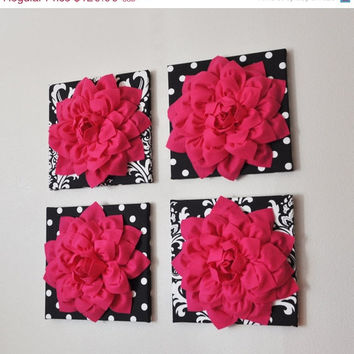 "MOTHERS DAY SALE Wall Decor -Set Of Four Hot Pink Dahlias on Black and White Prints 12 x12"" Canvases Wall Art-"