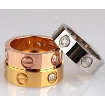 Cartier Popular Ladies Men Classic Diamond Ring Couple Ring+Birthday Gift I
