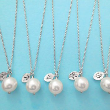 Set of 3 Bridesmaid, 10mm Pearl, Initial, Necklaces, One, Pearl, Necklace, Single, Pearl, Pendant, Necklaces, 3 Bridesmaid, Necklaces