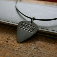 Etched Muse Band Copper Guitar Pick Necklace by EtchedAudio