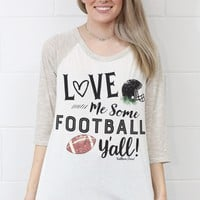 Love Me Some Football Y'all Striped Sleeve Raglan {Ivory Mix}
