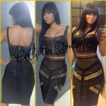 GGotta Boutique Brand New Sexy V Neck Backless Beading 2 Piece Bandage Dress