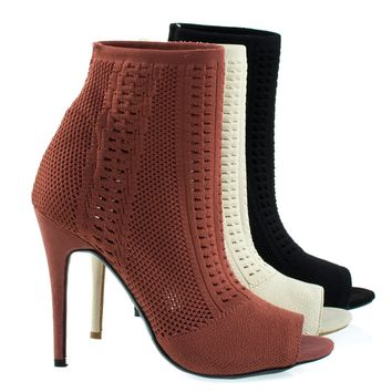 Royals47M By Anne Michelle, Elastic Woven Above Ankle Bootie, Women's Peep Toe High Heel Boots