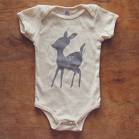Natural 100% Organic Cotton GRAY DEER Screen Printed  Infant Baby One-piece