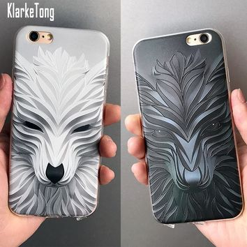 Luxury 3D Relief Phone Case For iphone 7 6 6S 7Plus Cover Cartoon Wolf  Animal Pattern Soft TPU Ultra Thin Coque Capa Fundas