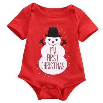 Newborn Infant Christmas Baby Girl Boys Rompers Jumpsuit Clothes Outfits Santa Snowman Xmas Baby Clothing Costume