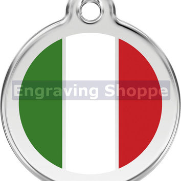 Italian Flag Enamel and Stainless Steel Personalized Custom Pet Tag with LIFETIME GUARANTEE ID Tag Dog Tags and Cat Tags Free Engraving