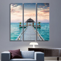 Oil Painting Canvas House Blue Sea Landscape Wall Art Decoration Home Decor On Canvas Modern Wall Picture For Living Room (3PCS)