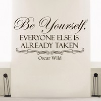 Wall Decals Oscar Wild Quote Decal Vinyl Sticker Saying Be Yourself Everyone Is Already Taken Bedroom Room Home Decor Mural Sb2