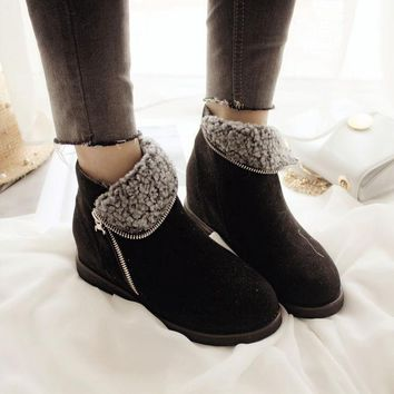 ESBONG Autumn England Style Zippers Ankle Flat Height Increase Wedge Boots [9432941578]