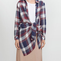 Lightweight Long Sleeve Tie Front Plaid Tunic Shirt (CLEARANCE)