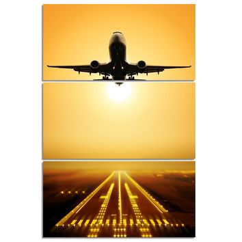 3 Piece Panel Wall Art Jet Airplane taking off at Sunset Panel Canvas Print