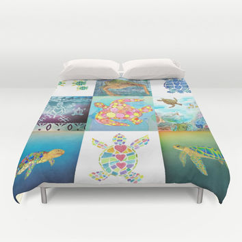 Turtle Collage Duvet Cover or Comforter, Ocean, surf art duvet or comforter, aqua, blue, purple teal, teen, beautiful, coastal bedroom decor
