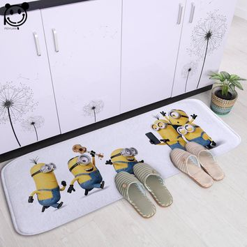 PEIYUAN Door Mat Fashion Washable Doormat Printing Cartoon Cute Minions Soft White Flannel Floor Mat Rug Bedroom Carpet