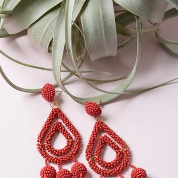 Camellia Teardrop Dangle Earrings - Red