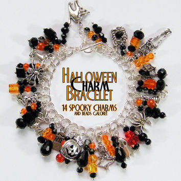 Halloween charm bracelet/necklace .. spooky charms - spider, skeleton, pumpkin, ghost, cat, tombstone, bat, convertible, bead clusters
