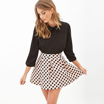 Pink Abstract Print Pleated Skirt