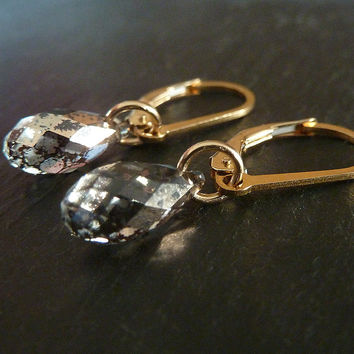 Swarovski Crystal Lever Back 14k Gold Filled Dangle Earrings