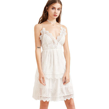White Layered Summer Dress Women Vintage Lace Trim Cut Out Back Sexy Cami Dresses 2017 Cute Embroidery Elegant Dress-0331