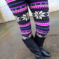 VERY BERRY SNOWFLAKE LEGGINGS - ONE