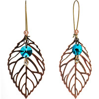 Handcrafted Vintage Water Drop Leaf Earrings MADE WITH SWAROVSKI ELEMENTS | Body Candy Body Jewelry