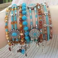 Turquoise & Silver Czech Glass Boho Style Hand Crafted Beaded Bangle Stacking Bracelets OOAK, Gift for Her FREE SHIP >50 Memory Wire Western