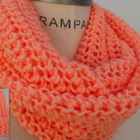 Hand Knit Scarf Chain Scarf Peach Infinity Scarf Women Scarves Winter Scarf Neckwarmer - by PIYOYO