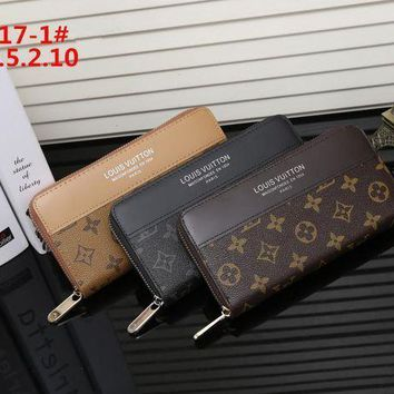 DCCK Louis Vuitton' Logo Letter Long Section Zip Double Layer Wallet Handbag Purse