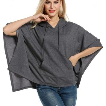 Dark Gray Women Hooded Pullover Casual Batwing Poncho Cape Hoodie Sweatshirt