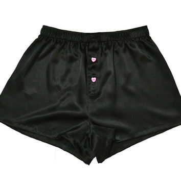 La Lilouche LUX Black Silk satin with Pale Pink Heart buttons Boxers