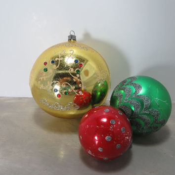 Vintage Christmas Tree Ornaments Glass Ornaments Shiny Brite Ornaments Green and Red Holiday Decor Mercury Glass Ornaments