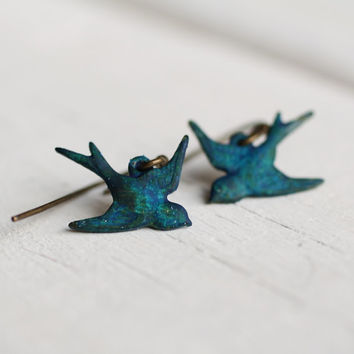 Swallow Bird Earrings ... Peacock Blue Teal Green Sparrow