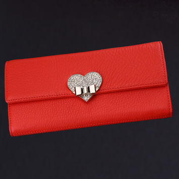 New Fashion Women Ladies Red Soft Genuine Leather Clutch Female Wallet Long Card ZIpper Purse Handbag Birthday Bags