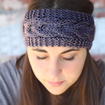 Knitted Headband - Ivory, Brown, Gray, Black, Bow , Cable Knit ,infinity, Crochet, Linen,Wide Headband, Turban, Christmas Gift