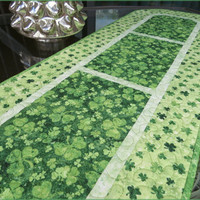 Quilted Irish Shamrock Table Runner St Patrick 691