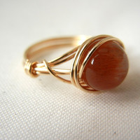 14kt Gold-Filled Wire Wrapped Sunstone Ring