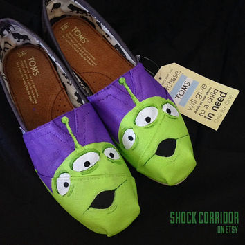 Disney Pixar Toy Story Aliens Ooooo! Custom Painted Shoes