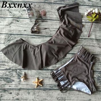 DCCKFV3 Bxxnxx High Waisted Swimwear Women Off Shulder Bikini Set Bandeau Ruffle Vintage Bikini Swimsuit Cut Out Bottom Bathing