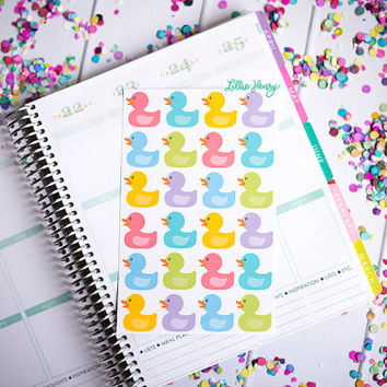 Rubber Duckies FUN-ctional Stickers! Set of 24 large stickers, perfect for your Erin Condren Life Planner, calendar, Filoflax, Plum Planner!
