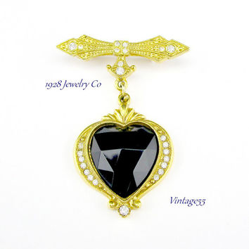 Brooch Pendant Heart Rhinestone 1928 Jewerly Co.