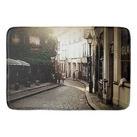 Vintage Cobblestone Street in Italy Bath Mats