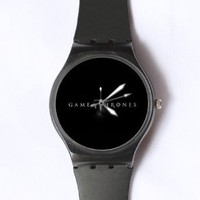 Custom Game of Thrones Watches Classic Black Plastic Watch WT-0824